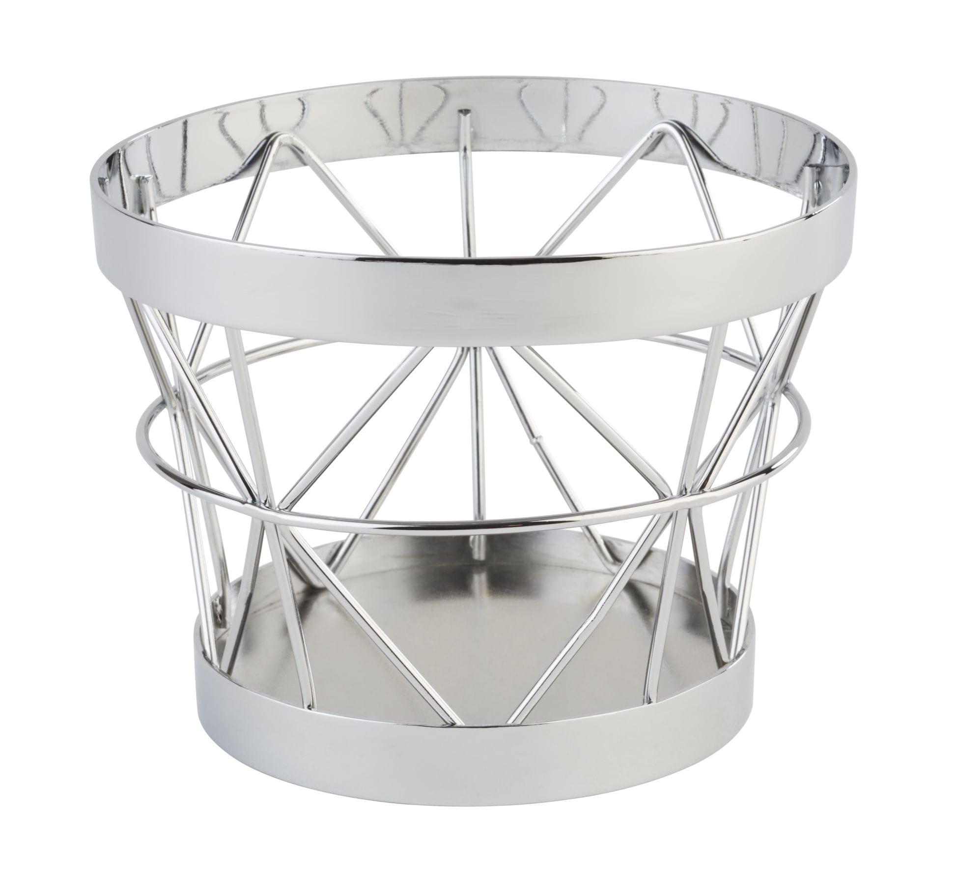Koszyk okrągły metalowy chrom | APS 15320