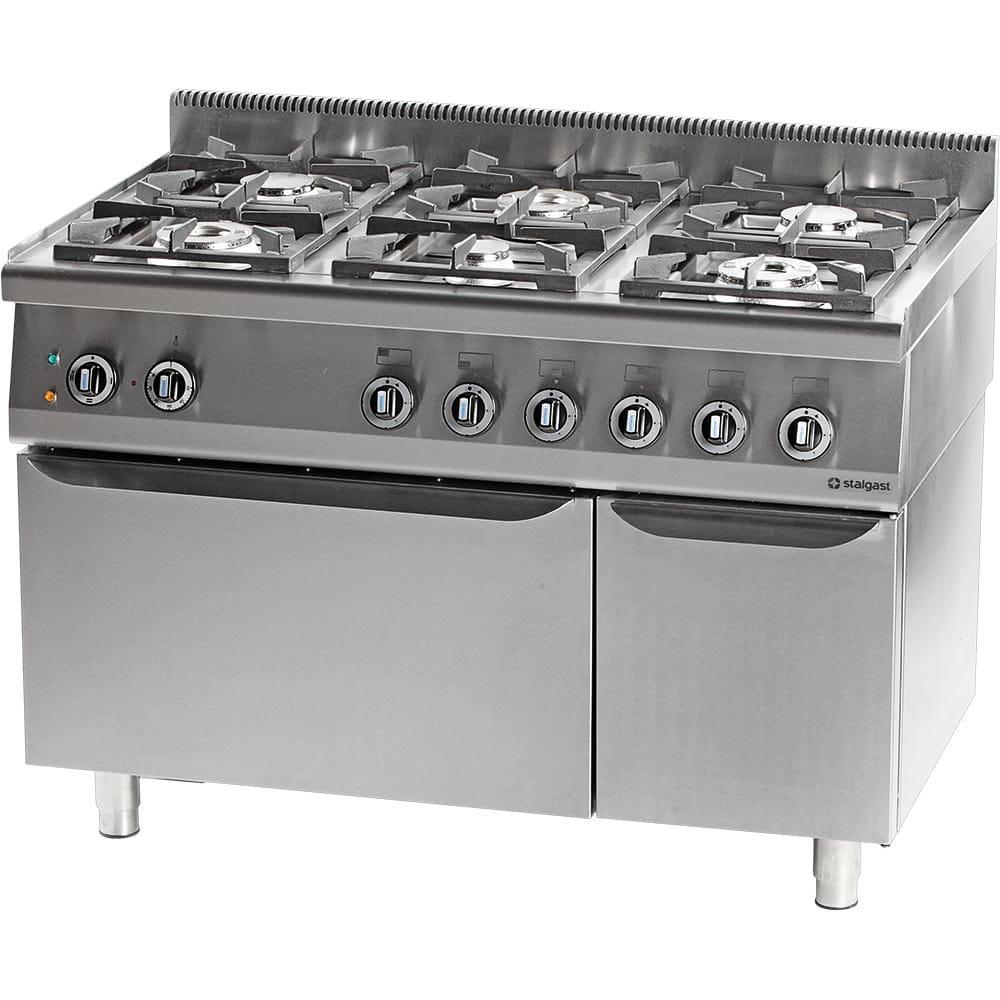 Kuchnia Gazowa 6 Palnikowa Z Piekarnikiem Elektrycznym 325 Kw Zestaw G20 Gz50 Stalgast 971711